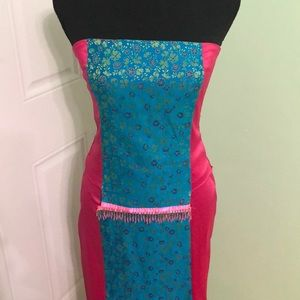 2 piece hot pink and bright blue satin dress